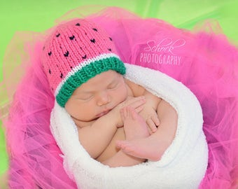 Watermelon Hat • Watermelon Baby Hat • Watermelon Baby Beanie • Watermelon Newborn Hat • Summer Baby Hat
