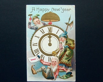 Antique Gnomes & New Year's Gilt Clock. Embossed Old World Holiday Postcard