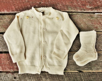Vintage Embroidered Nylon Baby Sweater and Socks