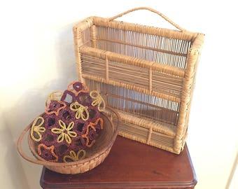 Boho Wicker Bamboo Wall Caddy - Wicker Wall Shelf