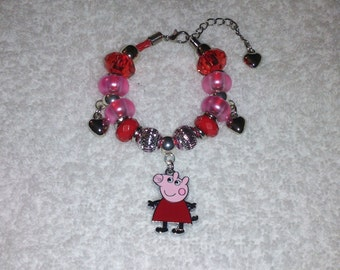 Handmade European Beaded Bracelet with PEPPA PIG Inspired Charm