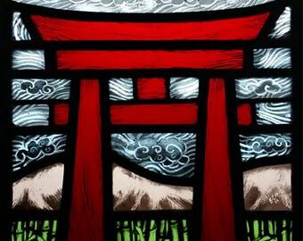Tori gate, photographic greeting card, Shinto, stainedglass, birthday, anniversary, blank, wedding, engagement, good luck, travel, Japanese