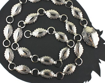 Western Silver Oval Metal Concho Chain Belt -  up to 36 inches