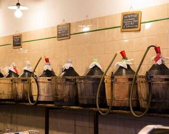 Wine for Sale, Venice, Italy, Jugs of Wine, Baskets of Wine, Italian Wine Shop