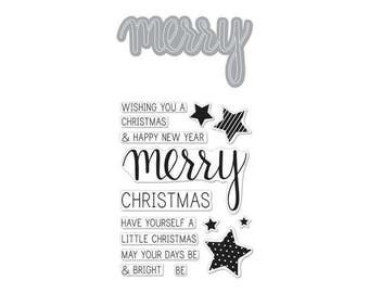"""Hero Arts Stamp & Cuts MERRY Christmas clear 3""""x4"""" Stamp with metal Die set - DC170 1.cc02"""