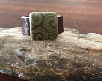 Handmade Leather Ring With A Ceramic Bead RM56R