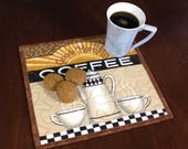 Coffee Lovers Mugrug, Quilted Snack Mat, Coffee Theme Mug Rug, Mini Placemat, Luncheon Mat, Handmade Beverage Mat, Mini Quilt,Quilted Mugrug
