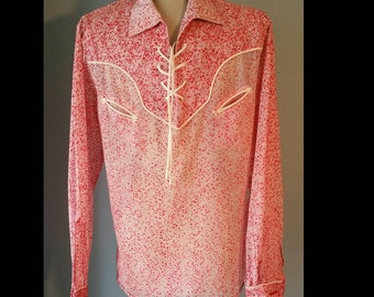 Vintage mens red flocked lace up western shirt.