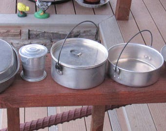 Mixed Group of Pans plus WW II Mess Kit Pan, Collapsable cup/Collectable, Camping, Repurposing
