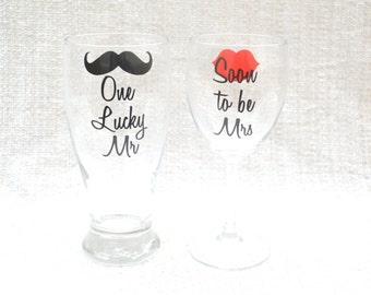 Engagement Gift, READY TO SHIP engagement present, Bridal Shower Gift, Engagement Party Gift, Soon to be Mrs with lips, one lucky mr mustach