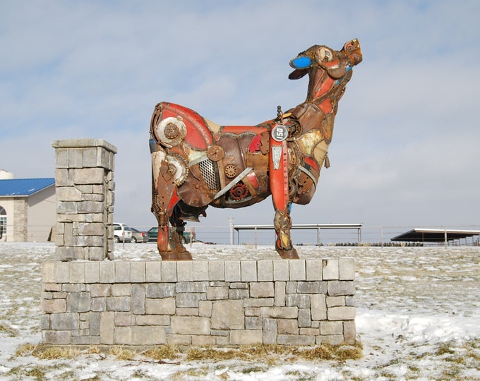 Custom Made to Order Outdoor Found Object Cow Metal Large Sculpture Made by Jacob Novinger