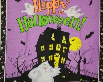 Hallmark Happy Halloween Banner by Wamsutta Preprinted Cut and Sew Skulls Ghost Pumpkins Tombstone Haunted House PurpleBlack White Orange