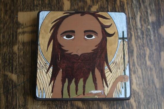 5 X 5 Saint John the Baptist Byzantine / Folk icon print on wood