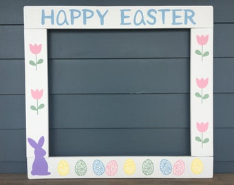 Easter Photo Booth - Happy Easter Photobooth - Spring Photobooth - Easter Photo Frame Prop - Pallet Wood Photobooth Frame Prop - Easter
