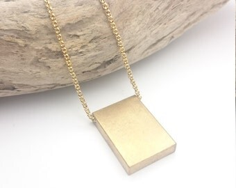 Gold Brass Rectangle Bar Necklace//Geometrical Gold brass Necklace stainless steel Chain//Minimalist gold industrial necklace//Cube necklace