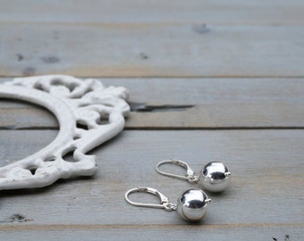 Sterling Silver Ball Earrings / Silver Ball Earrings / Sterling Silver Earrings / Ball Drops / Modern / Minimalist / 10mm / Simple
