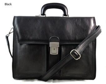 Leather briefcase business bag conference bag satchel office bag shoulder folder shoulder bag mens executive briefcase brown black