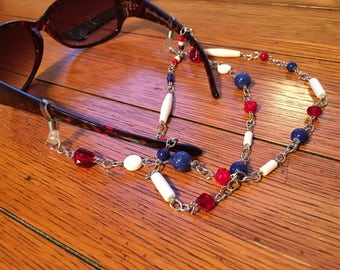 Eyeglasses Chain. Red, White and Blue Beads. Silver chain.