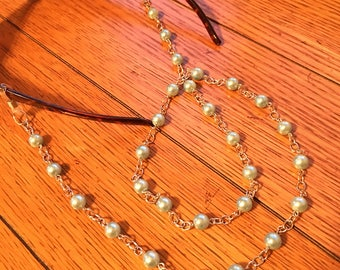 Eyeglasses Chain. Large Blue Pearl Beads on Silver chain.