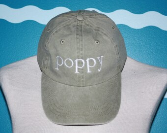 Embroidered poppy hat - Custom poppy baseball cap - Embroidered baseball hat - Grandparent baseball cap - Poppy gift - Custom Gift