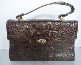 Vintage Alligator Embossed Leather Purse