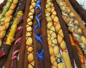 Wool Dreadlock Set Dreads Hair Extensions Woolies Set of 24 HALLOWEEN Pirate Dreads