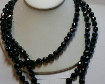 Vintage black glass beaded necklace 1960s long single strand jewelry