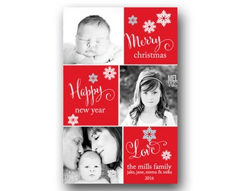 Christmas Cards - Holiday Cards - Custom Photo Christmas Cards - Printable File - Holiday Red Snow Flakes