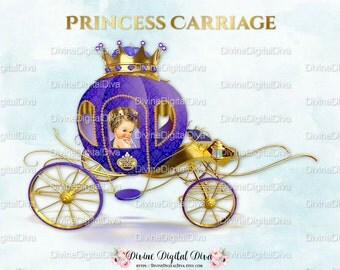 Princess Carriage Coach Purple & Gold | Caucasian Baby Girl | Clipart Instant Download