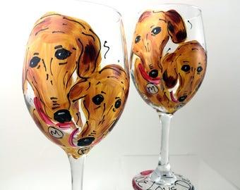 Custom Pet Portrait Wine Glass   Hand Painted Glass   Custom Wine Glass   Custom Drinking Glass