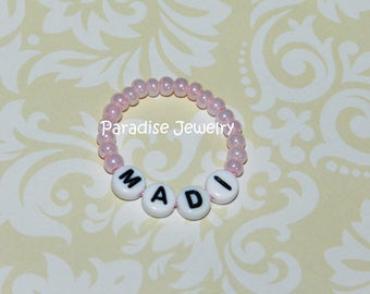 Newborn Baby Girl Name Bracelet Retro Style Pink Baby ID Bracelet - Baby Size Jewelry, 1st Photos, Vintage Inspired