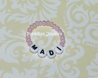 Baby Girl Name Bracelet Newborn Retro Style Pink Baby ID Bracelet - Baby Size Jewelry, 1st Photos, Vintage Inspired, Beaded Baby ID Bracelet