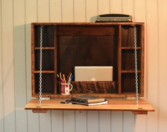 Fold Down Desk- folding desk for apartments, college students, or bedroom built from reclaimed barn wood, barn wood furniture
