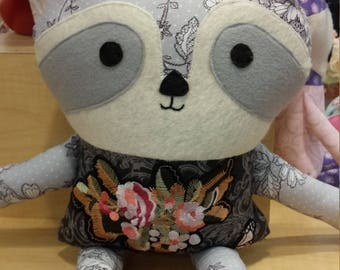 Gray Tattoo Raccoon Doll
