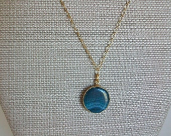 Short Blue Teal Pendant Necklace on Gold Chain