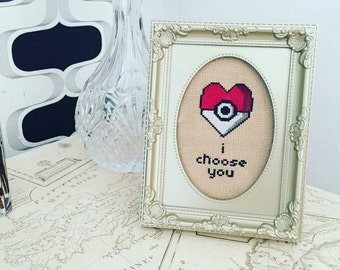Pokemon Pokeball I Choose You Cross Stitch