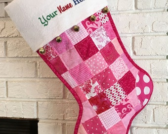 Quilted Patchwork Christmas Stocking, Pink Cotton Fabric, White Flannel Cuff with Jingle Bells, Large Size, Fully Lined,  Personalized Free