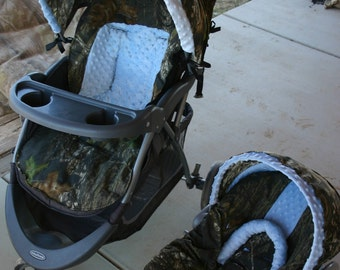 Carseat and stroller not included: mossy oak and baby blue car seat COVER and hood COVER with matching stroller hood COVER and seat cushion