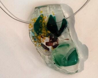 Chunky Fused Glass Pendant