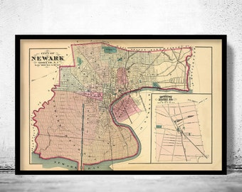 Old Map of Newark New Jersey 1872