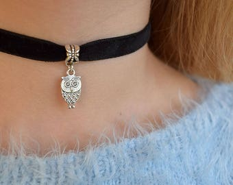 Choker necklace Velvet jewelry Owl chokers Punk Necklace Boho Rocker Gothic Choker Thick Choker 90s choker grunge Black Teen girl gift