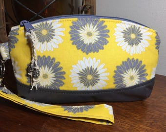 Leather and Cotton Wristlet Purse