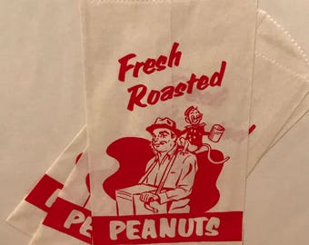 Vintage fresh roasted paper peanut bags with organ grinder and monkey print