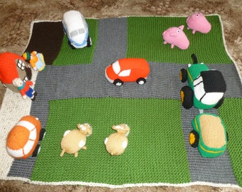 Large farm playmat with farmhouse and vehicles