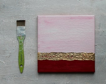 "Acrylic painting, gold leaf, pink, craftworks, 8x8x0,6"" original painting, mixed media, painting gold, pink, gold, contemporary, gift, #qrw"