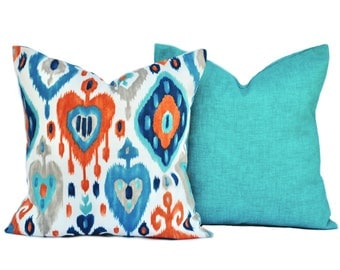 Two Outdoor pillow covers, Ikat Pillow, decorative throw pillow, decorative pillow, accent pillow, pillow case, DIFFERENT SIZES AVAILABLE