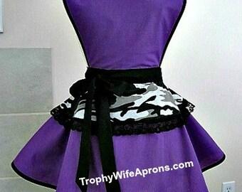 Apron # 4055 - Black and white camo over purple kitchen apron