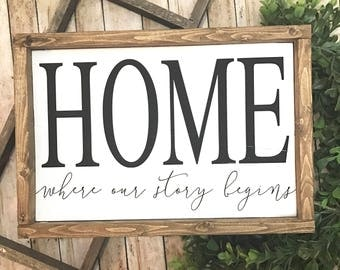 READY TO SHIP | Home | Where Our Story Begins | Home Sweet Home | Farmhouse Decor | Home Where our Story Begins Sign