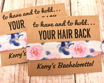 Bachelorette Party Favors | Bachelorette Party Hair Tie Favors | Survival Kit | To Have and To Hold Your Hair Back | Watercolor | Hair Ties