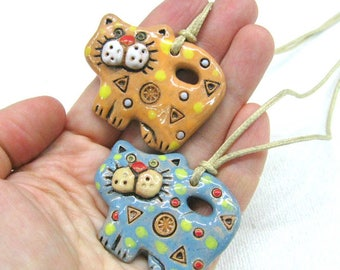 Cat lover gift for cat lady Ceramic art Cat jewelry Kitty necklace large cat pendant clay necklace pottery jewelry animal necklace cat charm